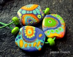 jasmin french  ' morning dew ' lampwork beads set sra