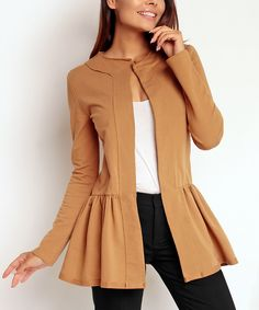 Another great find on #zulily! Camel Peplum Jacket by Nommo #zulilyfinds