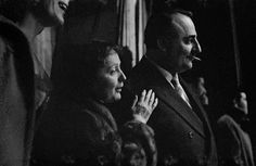 Frank Horvat - Édith Piaf, singer, and Bruno Cocatrix, impresario, Paris, 1958.