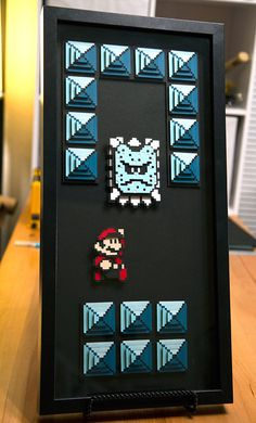 THWOMP and Mario  Super Mario 3  8bit hand cut 3D by willpigg