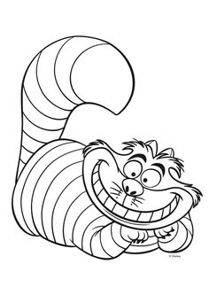 Irvikissa-värityskuva. Cheshire Cat colouring. Lasten Oman Kirjakerhon tulostettavat värityskuvat. Free printable pattern. lasten | askartelu | käsityöt | värittäminen | DIY ideas | kid crafts | colouring