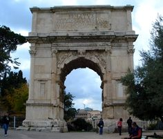 Arch of Titus, 82 AD, Rome. The Arch of Titus has provided the general model for many of the triumphal arches erected since the century--Perhaps the most famous one is the Arc de Triomphe in Paris which was built between 1806 and Arch Of Titus, Roman Forum, Roman Architecture, Ancient Romans, Roman Empire, 16th Century, Arches, Travel Photos, Rome