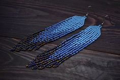Blue Fringe Earrings, Ombre earrings, Bohemian earrings,  Seed Bead Earrings, Blue Tassel Earrings, Long Fringe Earrings, Gypsy Earrings