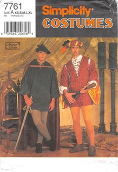SIMPLICITY 7761 - FROM 1997 - UNCUT - MENS COSTUME