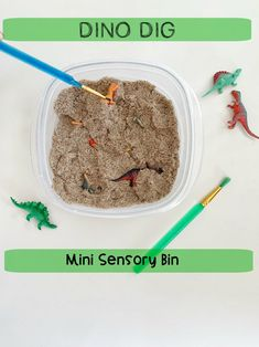 Dinosaur Dig Mini Sensory Bin Activity for Preschool & Kindergarten Make a Dinosaur Mini Sensory Bin that will travel with you! Take it on vacation to the beach or car ride! Dinosaur Sensory Bin Sorting activity on the go! Dinosaur Theme Preschool, Dinosaur Dig, Dinosaur Crafts, Preschool Classroom, Preschool Crafts, Toddler Activities, Sensory Activities, Summer Activities, Kindergarten Lessons
