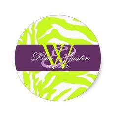 Lime zebra/monogram stickers/diy colors