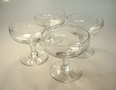 Set of 4 Vintage Champagne Coupes or Cocktail Glasses
