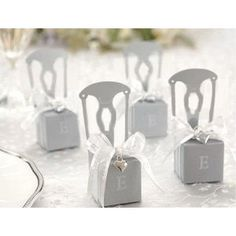 "Miniature ""Silver Chair"" Favor Box with Heart Charm & Ribbon"