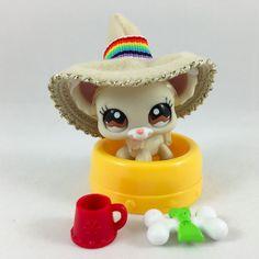 Littlest Pet Shop White & Cream Chihuahua #1199 w/Hat & Accessories #Hasbro