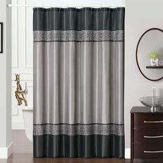 Shower curtain that's pieced and embroidered. Gala is a traditional...
