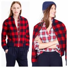 """J.Crew Red Buffalo Check Bomber Jacket J.Crew Red Buffalo Check Bomber Jacket.  Color is red/navy.  From J.Crew retail.  Brand new with tags still attached.  Price is firm.  From J.Crew website A polished buffalo-check bomber that's much too pretty for chopping wood. For a sporty update to the outdoorsy vibe, we gave it rib trim at the collar and cuffs.  Wool. Zip closure. Pockets. Lined. Dry clean. Cut for a classic fit—not too loose and not too tight. Body length: 23 5/8"""". Sleeve length…"""