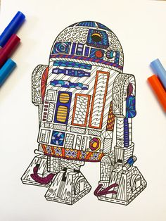 R2D2 PDF Zentangle Coloring Page por DJPenscript en Etsy