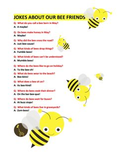 Posts about Felt Board Stories written by Michael Francis McCarthy Bee Facts For Kids, Bees For Kids, Jokes And Riddles, Silly Jokes, Food Jokes, Bee Activities, Seasons Activities, Sequencing Activities, Toddler Activities