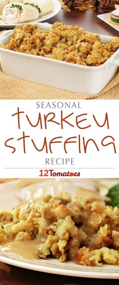 Every family has a tried and true stuffing recipe. The one below is a real favorite, at Thanksgiving and any time of year! This recipe calls for baking the stuffing in a casserole dish, and resting turkey legs over top. The juices and the flavor drips down into the stuffing, keeping it moist and delicious, and you also end up with some extra turkey meat you can save and use the next day for some turkey pot pie! #Thanksgiving #ThanksgivingRecipes