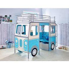 Lit Enfant Mezzanine Van Bleu 90x190 TERRE DE NUIT - Lit mezzanine, superposé