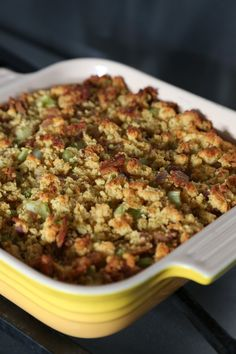 Doesn't get any breezier than 7-ingredient cornbread and bacon dressing for Thanksgiving
