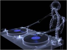 X Ray of a male skeleton DJ spinning records on a couple of xray turntables MySpace Background