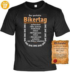 Biker T-Shirt Der perfekte Bikertag Shirt 4 Heroes Geburtstag Geschenk geil bedruckt mit Biker-Urkunde (*Partner-Link)