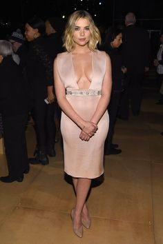 Pin for Later: The Stars Continue to Catch Our Eye as Fashion Month Moves Along Ashley Benson at NYFW The Pretty Little Liars star rocked a very low-cut, pale pink dress at Reem Acra.