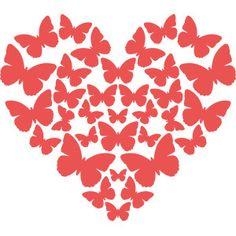 Silhouette Design Store - View Design #183889: butterflies heart
