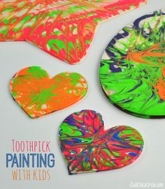 Easy Toothpick Painting with Kids - so easy and fun! Use decoupage, paint and toothpicks to create some really cool designs. The decoupage dries clear and leaves a dimensional glossy effect on your surface.