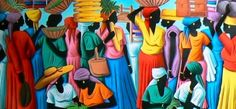 love the colour, haitian art - brought a beautiful painting home from Haiti by the  Artist  Fritz Rock