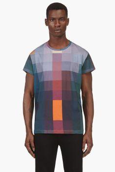 ACNE STUDIOS Teal Block Print T-Shirt