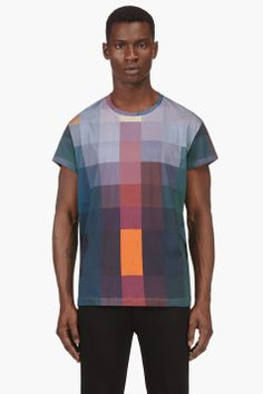 ACNE STUDIOS Teal Block Print T-Shirt