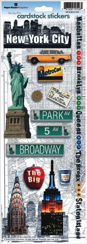 Paper House Productions Travel Cardstock Stickers, New York City - of the day meme Scrapbook Stickers, Scrapbook Paper, Planner Stickers, New York Scrapbooking, Scrapbooking Ideas, New York Broadway, Usa Holidays, Manhattan New York, Arts And Crafts Supplies