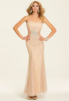 Strapless Beaded Mesh Dress from Camille La Vie and Group USA