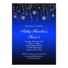 Blue Black Snowflakes Sweet 16 Winter Wonderland Card
