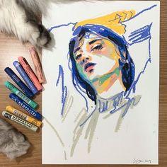 Sketchbook Inspiration, Art Sketchbook, Art Sketches, Art Drawings, Drawing Drawing, Fuchs Illustration, Grafik Art, Crayon Art, Crayon Ideas