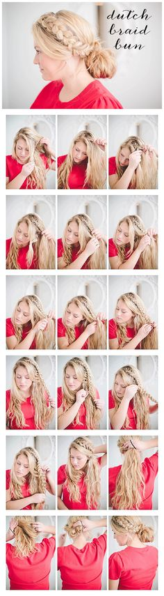 Dutch Braid Bun tutorial- bungalowsandolives.com