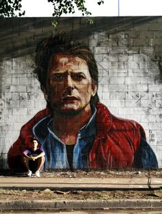 Marty McFly (Retour vers le futur)  de El Marian, artiste argentin de street art qui réalise de fantastiques portraits.