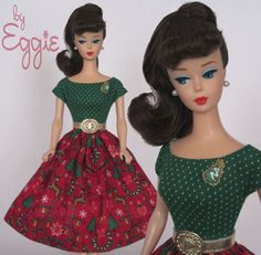 Oh Tannenbaum - Vintage Reproduction Barbie Doll Dress Clothes Fashions Handmade #Fanfare