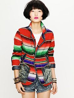 Artisan De Luxe Mexican Blanket Jacket at Free People Clothing Boutique Mexican Fashion, Mexican Outfit, Mexican Style, Blanket Jacket, Vogue, Free People Jacket, Culture, Distressed Denim, Outerwear Jackets