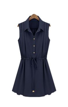 Dark Blue Lapel Plain Sleeveless Chiffon Dress