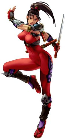 Taki, from Soul Edge and Soulcalibur, is a Japanese demon hunting kunoichi and the greatest warrior of the Fu-Ma ninja clan. http://hubpages.com/games-hobbies/The-Best-Female-Fighters-In-The-History-of-Video-Games