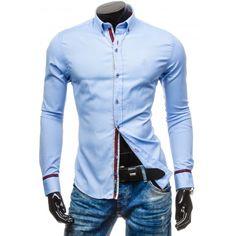 Pánska modrá košeľa s dlhým rukávom - fashionday.eu Style Casual, Motorcycle Jacket, Shirt Dress, Nike, Revers, Mens Tops, Jackets, Shirts, Dresses