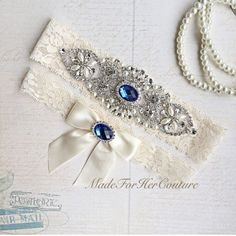 Royal Blue Wedding Garter Bridal Garter Set by MadeForHerCouture