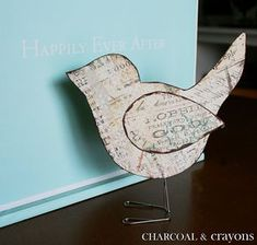 Template to make birds out of scrapbook paper and paper clips. This would be a cute ornament too!