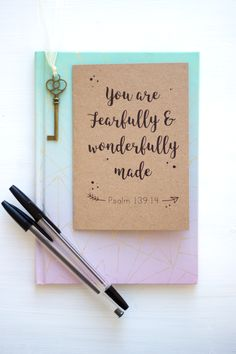 You are fearfully and wonderfully made - psalm 139:14. Kraft card