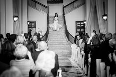 wedding bride coming down huge staircase stairs