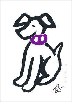JACQUELINE DITT - Hund mit lila Halsband A3 sign.limit. 1/55 Original Grafik M