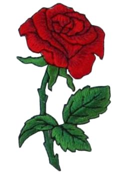 "[Single Count] Custom and Unique (1 3/4"" by 3 1/2"" Inches) Fall Gardens Bloomed Single Rose Iron On Embroidered Applique Patch {Red & Green Colors}"