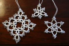 Tatted snowflakes - with beads, so can be used as suncatchers or Christmas tree ornaments. Brilliant! $10.95