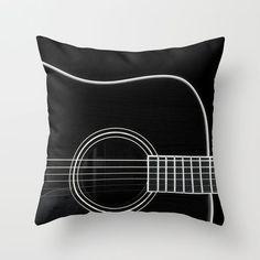 - Guitar Throw Pillow White on Black - #Music #Interiors #Pillow #Guitar #Decor http://www.pinterest.com/TheHitman14/music-interiordecor-%2B/