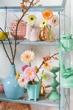 Colourful gerbera bouquet in a small blue vase #pinkegerberas #whitegerberas #inspiration #colouredbygerbera #dutchgerbera