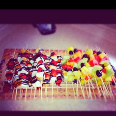 Strawberry & Angel Food cake kabobs along with Fruit kabobs