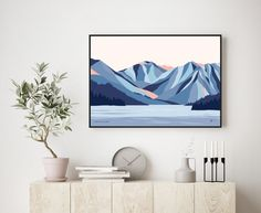 Olympic Valley, Lake Tahoe California modern mountain art print. Free shipping worldwide. Contemporary ski art Mountain Art, Mountain Landscape, Bridget Hall, Greeting Card Size, Tahoe California, Hall Design, Framed Prints, Art Prints, Lake Tahoe